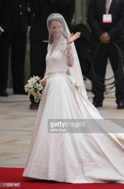 Catherine Middleton is seen arriving for the Royal Wedding of Prince William to Catherine Middleton at Westminster Abbey on April 29 2011 in London...