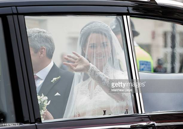Catherine Middleton leaves the Goring Hotel to attend the Royal Wedding of Prince William at Westminster Abbey on April 29 2011 in London England The...