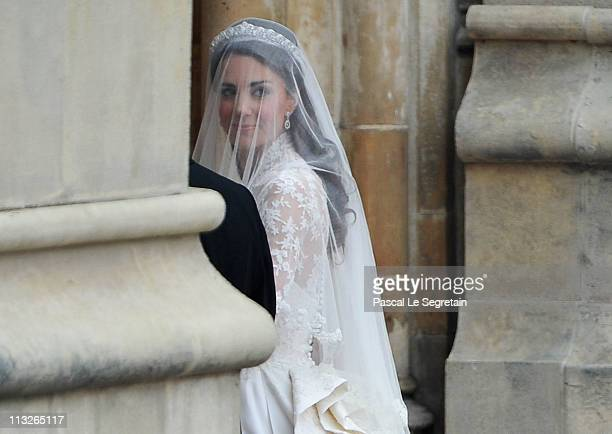 Catherine Middleton looks to the crowds as she arrives with her father Michael Middleton to attend the Royal Wedding of Prince William to Catherine...