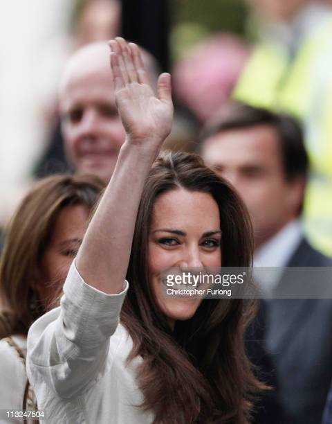 Catherine Middleton waves to the crowds as she arrives at The Goring Hotel after visiting Westminster Abbey on April 28 2011 in London England With...