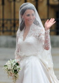 Catherine Middleton waves to the crowds before walking in to the Abbey to attend the Royal Wedding of Prince William to Catherine Middleton at...