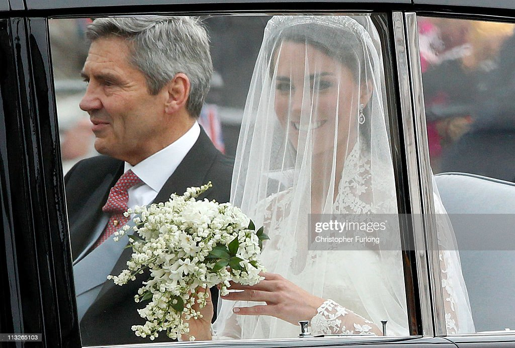 Catherine Middleton with her father Michael Middleton smiles as she arrives to attend her Royal Wedding to Prince William of Wales at Westminster...