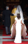 Catherine Middleton with the father Michael Middleton and Maid of Honour Pippa Middleton arrive to attend her Royal Wedding to Prince William at...