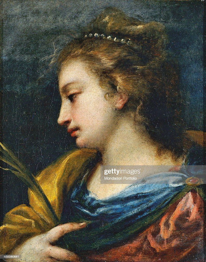 Catherine of Alexandria (Santa Caterina d'Alessandria), by Carlo Francesco Nuvolone, 1630 - 1640, 17th Century, oil on canvas, 33 x 26 cm.