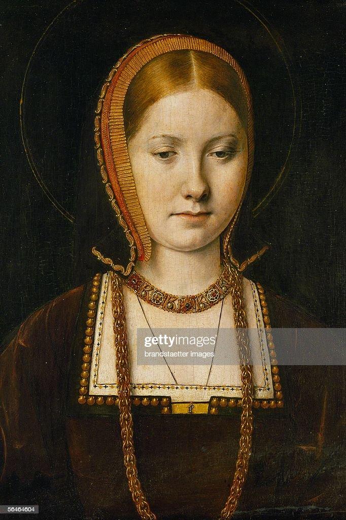 <a gi-track='captionPersonalityLinkClicked' href=/galleries/search?phrase=Catherine+of+Aragon&family=editorial&specificpeople=216175 ng-click='$event.stopPropagation()'>Catherine of Aragon</a> (1485-1536), first wife of King Henry VIII. The Pope's refusal to let the King divorce her, led to the separation of the Anglican from the Catholic Church. Oakwood, 29x20.5 cm Inv.561. (Photo by Imagno/Getty Images) [Katharina von Aragon (1485-1536), erste Ehefrau von Koenig Henrich VIII. Die Ablehnung des Papstes sich von ihr scheiden zu lassen, fuehrte zur Abspaltung der Anglikanischen von der Katholischen Kirche. Eichenholz, 29x20.5 cm Inv.561.]