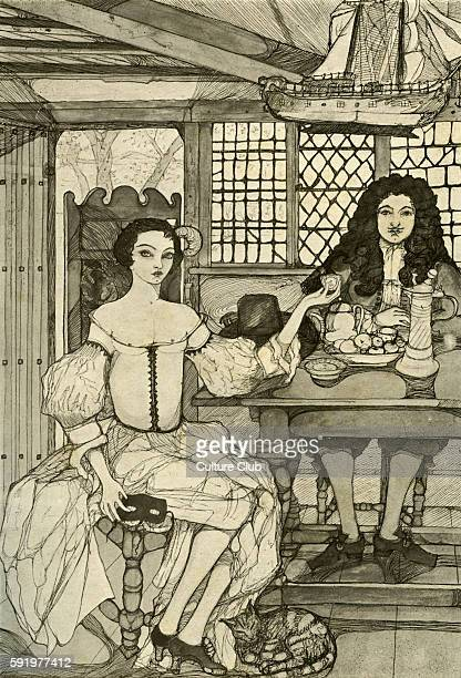 Catherine of Braganza wife of Chaarles II giving a tea party at Somerset House Waller wrote 'Venus her myrtle Phoebus has his bays Tea both excels...