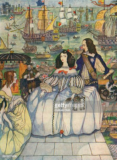 Catherine of Braganza's arrival at Portsmouth May 1662 for her marriage to Charles II Illustration by Kitty Shannon Portuguese born queen of England...
