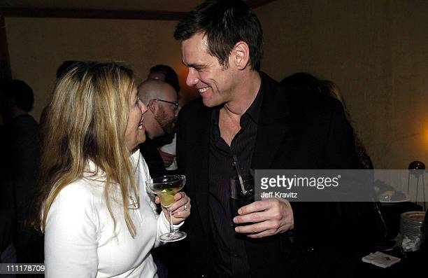 Catherine O'Hara and Jim Carrey during US Comedy Arts Festival 2005 Final Night Party at Little Nell in Aspen Colorado United States