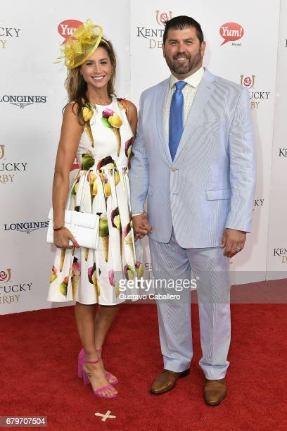 Catherine Panagiotopoulos and Jason Varitek attend the 143rd Kentucky Derby at Churchill Downs on May 6 2017 in Louisville Kentucky