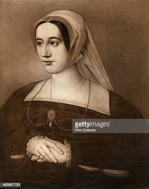 Catherine Parr queen of England and Ireland and last wife of King Henry VIII circa 1543 Engraving after a portrait by Hans Holbein the Younger...