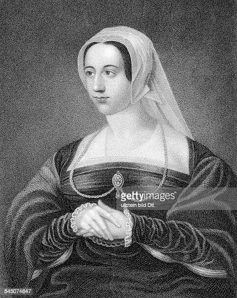 Catherine Parr queen of England and Ireland and last wife of King Henry VIII circa 1543 Engraving after a portrait by Hans Holbein the Younger