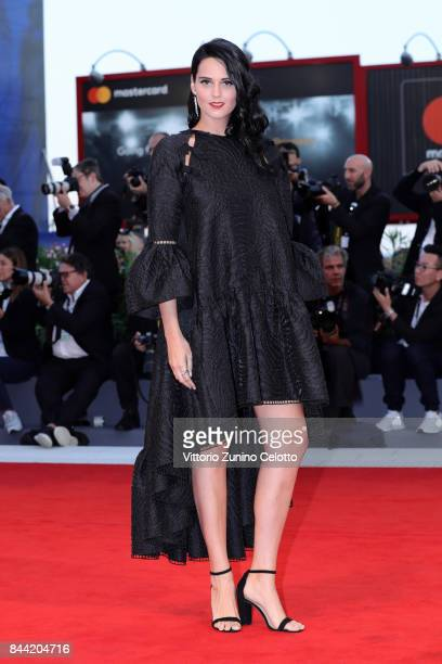 Catherine Poulain walks the red carpet ahead of the 'Racer And The Jailbird ' screening during the 74th Venice Film Festival at Sala Grande on...