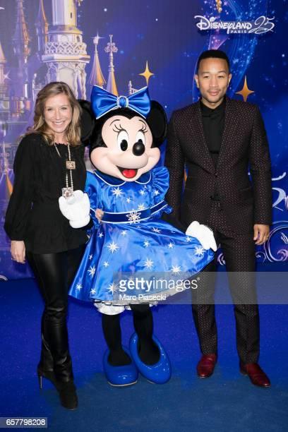 Catherine Powell CEO of Eurodisney SAS and singer John Legend attend the Disneyland Paris 25th Anniversary at Disneyland Paris on March 25 2017 in...