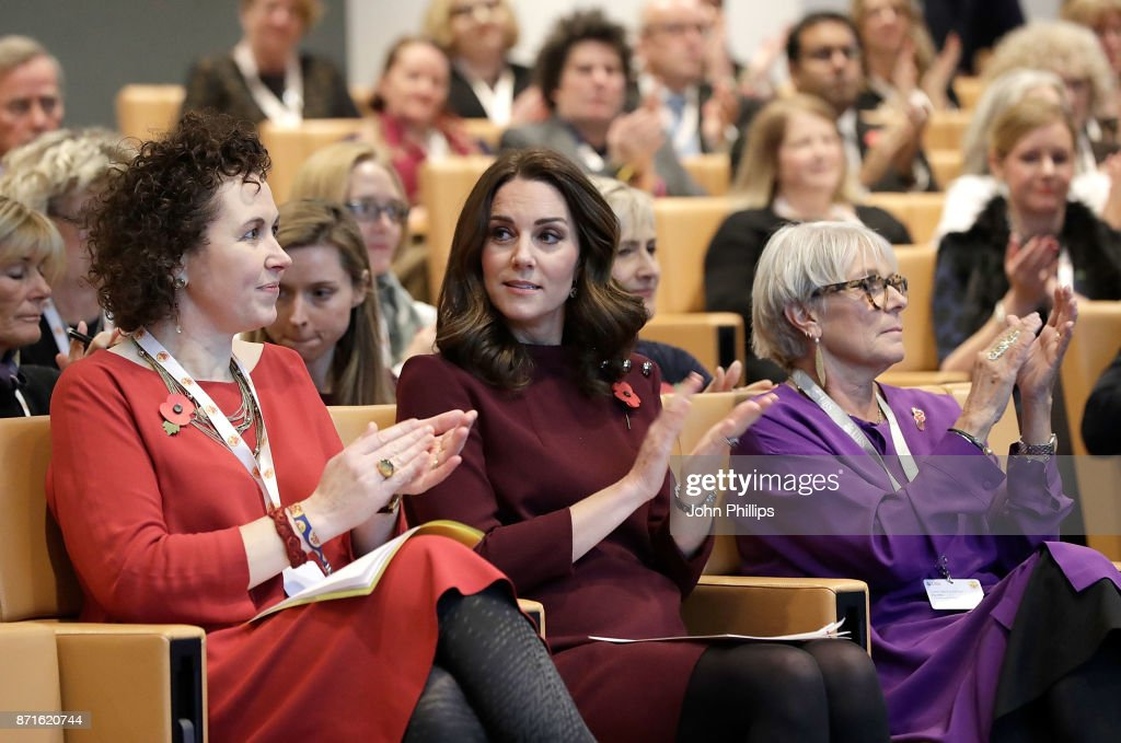Catherine Roche, CEO of Place2Be, Catherine, Duchess Of Cambridge and Dame Benita Refson, President of Place2Be during the annual Place2Be School Leaders Forum at UBS London, on November 8, 2017 in London, England. Catherine, Duchess Of Cambridge is Patron of Place2Be, a National Children's mental health charity.