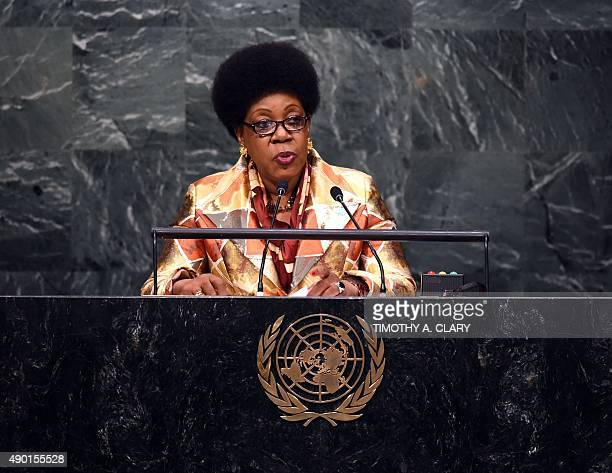 Catherine SambaPanza Head of State of the Transition of the Central African Republic speaks during the United Nations Sustainable Development Summit...