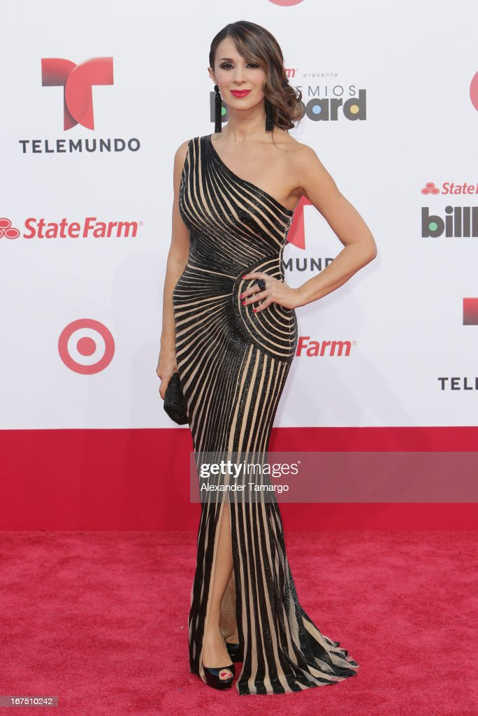 Catherine Siachoque arrives at Billboard Latin Music Awards 2013 at Bank United Center on April 25, 2013 in Miami, Florida.