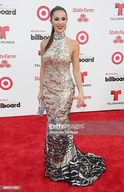 Catherine Siachoque arrives at the 2014 Billboard Latin Music Awards at Bank United Center on April 24 2014 in Miami Florida