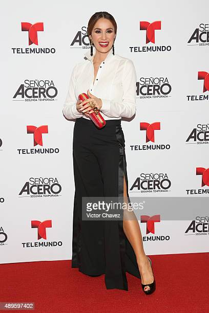 Catherine Siachoque attends 'Senora Acero' second season premiere red carpet at Cinepolis Plaza Carso on September 22 2015 in Mexico City Mexico