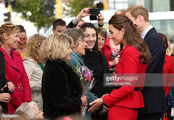 Catherine the Duchess of Cambridge and her husband Prince William speak to families who lost loved ones in the 2011 earthquake during visit to the...