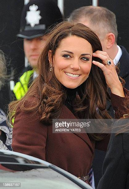 Catherine The Duchess of Cambridge arrives for a visit at the Brink an alcoholfree bar in Liverpool northwest England on February 14 2012 The bar run...