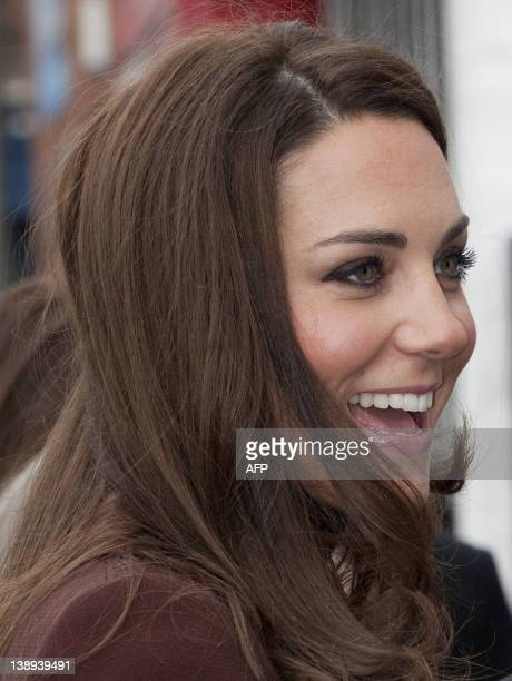 Catherine The Duchess of Cambridge arrives for an official visit to the Brink an alcoholfree bar in Liverpool northwest England on February 14 2012...