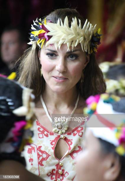 Catherine the Duchess of Cambridge attends a 'fatale' a singing and dancing event in Funafuti on Tuvalu on September 18 2012 Nearly half the...