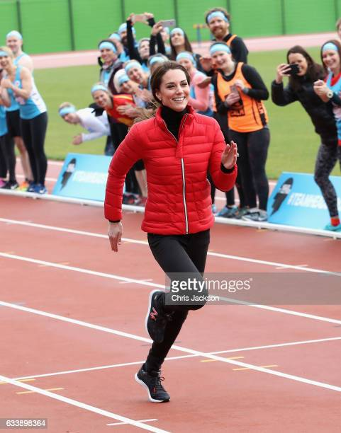 Catherine The Duchess of Cambridge competes against The Duke of Cambridge and Prince Harry during the Team Heads Together at a London Marathon...