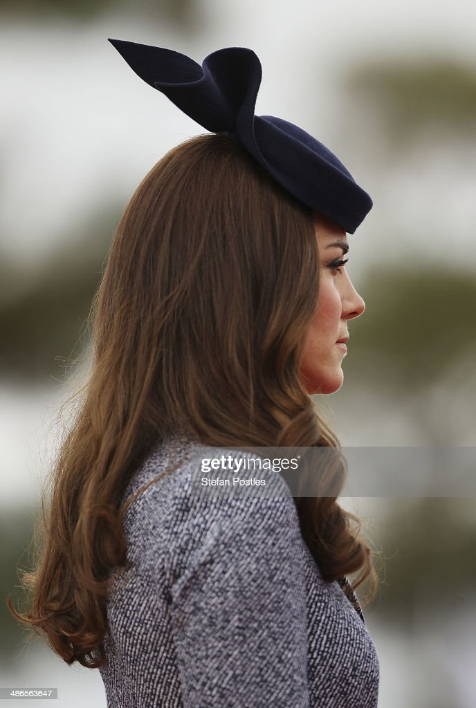 Catherine, the Duchess of Cambridge during an ANZAC Day commemorative service at the Australian War Memorial on April 25, 2014 in Canberra, Australia. The Duke and Duchess of Cambridge are on a three-week tour of Australia and New Zealand, the first official trip overseas with their son, Prince George of Cambridge.