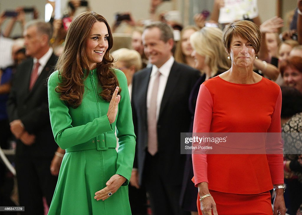 <a gi-track='captionPersonalityLinkClicked' href=/galleries/search?phrase=Catherine+-+Duchess+of+Cambridge&family=editorial&specificpeople=542588 ng-click='$event.stopPropagation()'>Catherine</a>, the Duchess of Cambridge is accompanied by Mrs <a gi-track='captionPersonalityLinkClicked' href=/galleries/search?phrase=Margie+Abbott&family=editorial&specificpeople=7149770 ng-click='$event.stopPropagation()'>Margie Abbott</a> through the Marble Hall at Parliament House on April 24, 2014 in Canberra, Australia. The Duke and Duchess of Cambridge are on a three-week tour of Australia and New Zealand, the first official trip overseas with their son, Prince George of Cambridge.