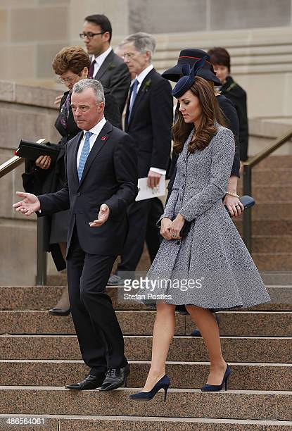 Catherine the Duchess of Cambridge leaves the War Memorial building after an ANZAC Day commemorative service at the Australian War Memorial on April...