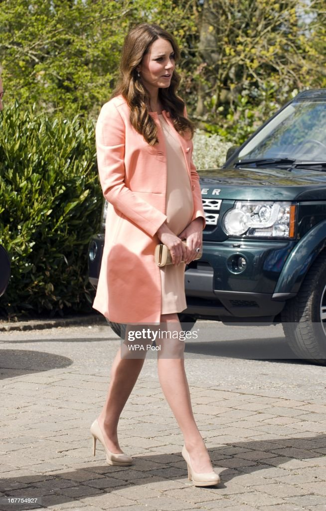 Catherine, The Duchess Of Cambridge meets children and staff during a visit to Naomi House Children's Hospice on April 29, 2013 near Winchester, Hampshire, England.