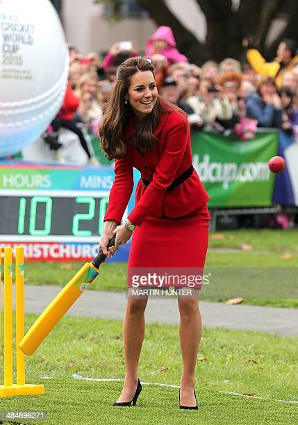 Catherine the Duchess of Cambridge plays a game of cricket during a visit to Latimer Square in Christchurch on April 14 2014 Prince William his wife...