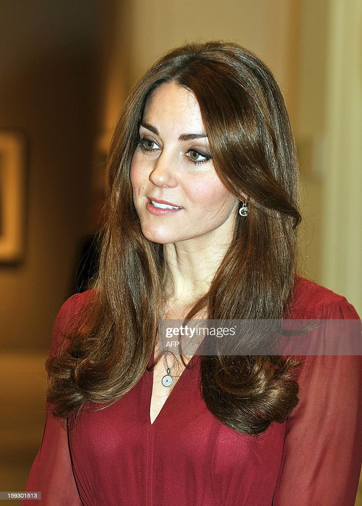 Catherine, The Duchess of Cambridge (R) speaks with British artist Paul Emsley after viewing his portrait of her at the National Portrait Gallery in central London on January 11, 2013. This is the first official portrait of the Duchess and was completed after two sittings at the artist's studio and Kensington Palace. AFP PHOTO/POOL/John Stillwell
