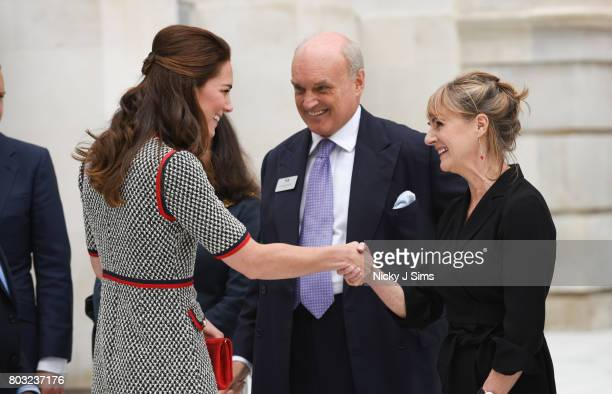 Catherine the Duchess of Cambridge talks to architect Amanda Levete during an official visit to the new VA exhibition road quarter at Victoria Albert...