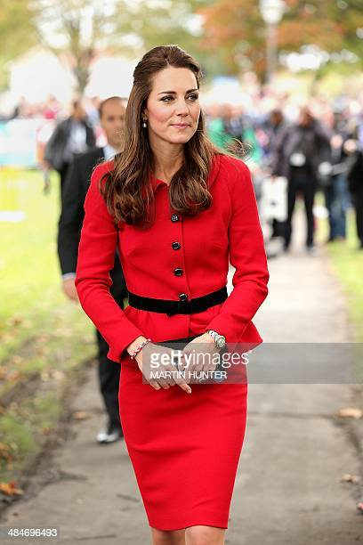 Catherine the Duchess of Cambridge visits Latimer Square in Christchurch on April 14 2014 Prince William his wife Kate and their son Prince George...