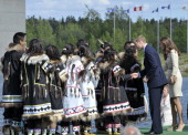 Catherine the Duchess of Cambridge watches traditional dancing during a visit to the Somba K'e Civic Plaza in Yellowknife Northwest Territories on...