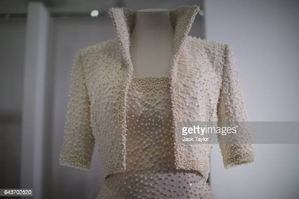 Catherine Walker dress and jacket dress embroidered with sequins and pearls known as the 'Elvis Dress' worn by Princess Diana on an official visit to...