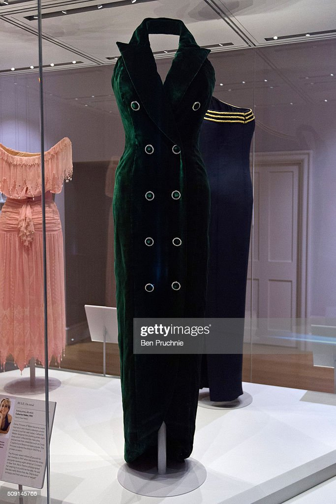 A Catherine Walker dress that was worn by Princess Diana for a photoshoot with Mario Testino is displayed at the Fashion Rules Exhibition at Kensington Palace on February 9, 2016 in London, England. The exhibition, that re-opens to the public on February 11 contains pieces including the dress Queen Elizabeth II wore for her official Silver Jubilee photograph and a dress worn by Diana, Princess of Wales for her last official photo shoot with famed photographer Mario Testino
