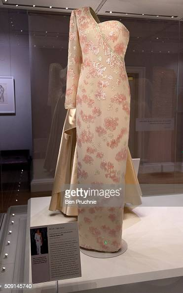 Catherine Walker dress that was worn by Princess Diana is displayed at the Fashion Rules Exhibition at Kensington Palace on February 9 2016 in London...