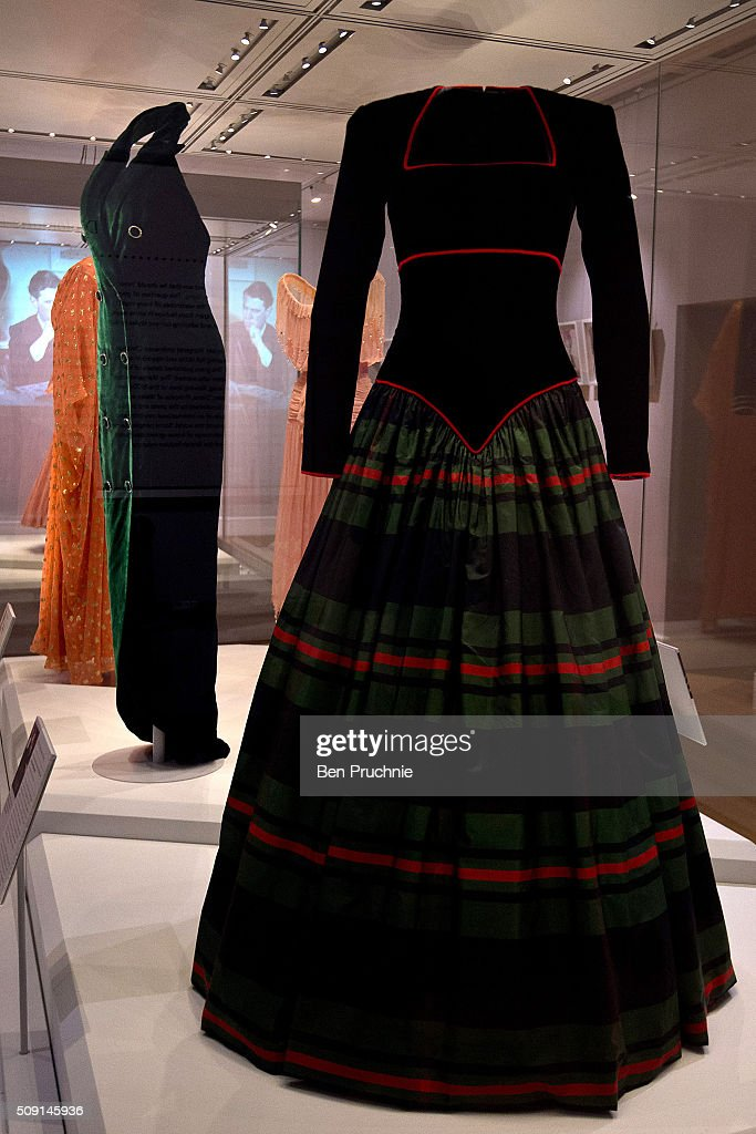 A Catherine Walker dress that was worn by Princess Diana is displayed at the Fashion Rules Exhibition at Kensington Palace on February 9, 2016 in London, England. The exhibition, that re-opens to the public on February 11 contains pieces including the dress Queen Elizabeth II wore for her official Silver Jubilee photograph and a dress worn by Diana, Princess of Wales for her last official photo shoot with famed photographer Mario Testino