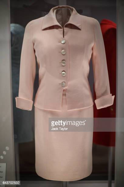 Catherine Walker pale pink day suit worn by Princess Diana at the Savoy Hotel in London in 1997 on display at a press preview at Kensington Palace on...