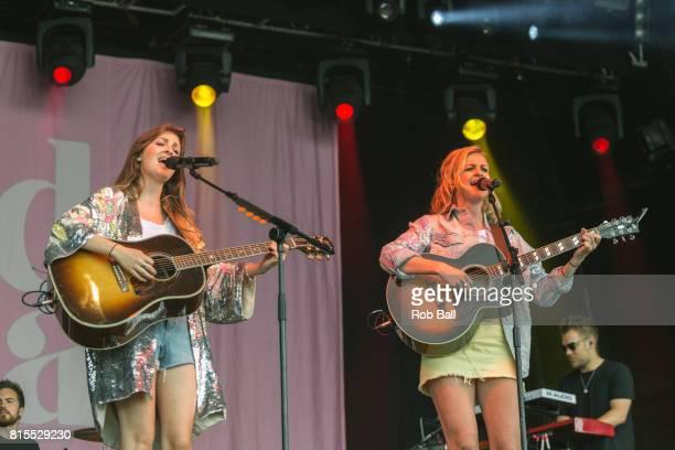 Catherine Ward Thomas and Lizzy Ward Thomas from Ward Thomas perform at Latitude Festival at Henham Park Estate on July 16 2017 in Southwold England