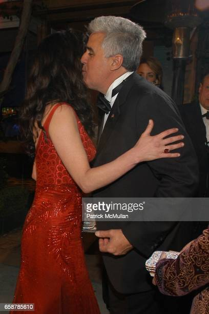 Catherine Zeta Jones and Jay Leno attend the 2004 Vanity Fair Oscar Party at Mortons on February 29 2004 in Beverly Hills California