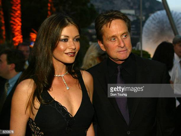 Catherine Zeta Jones and Michael Douglas arrive for the Laureus Sport for Good Foundation Dinner at the Salles des Etoiles in the Sporting Club in...