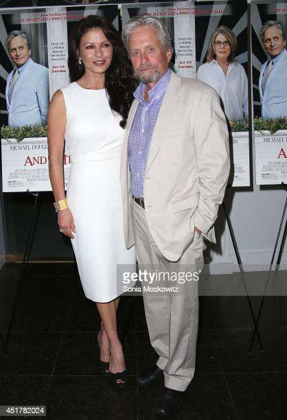 Catherine Zeta Jones and Michael Douglas attend the 'And So It Goes' premiere at Guild Hall on July 6 2014 in East Hampton New York