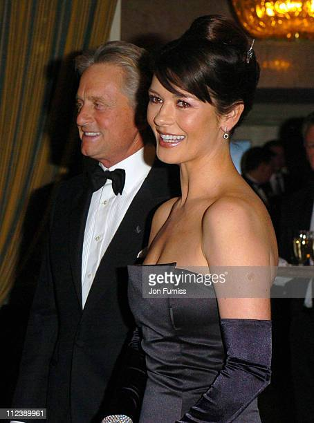 Catherine Zeta Jones and Michael Douglas during 2003 Nobel Peace Prize Awards Gala at Grand Hotel in Oslo Norway