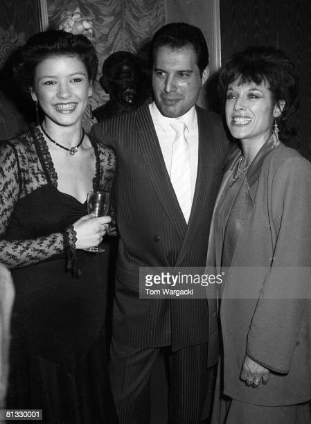 Catherine Zeta Jones Freddie Mercury and Jill Gasgoine at party or musical '42nd Street' on August 8 1984 in London England