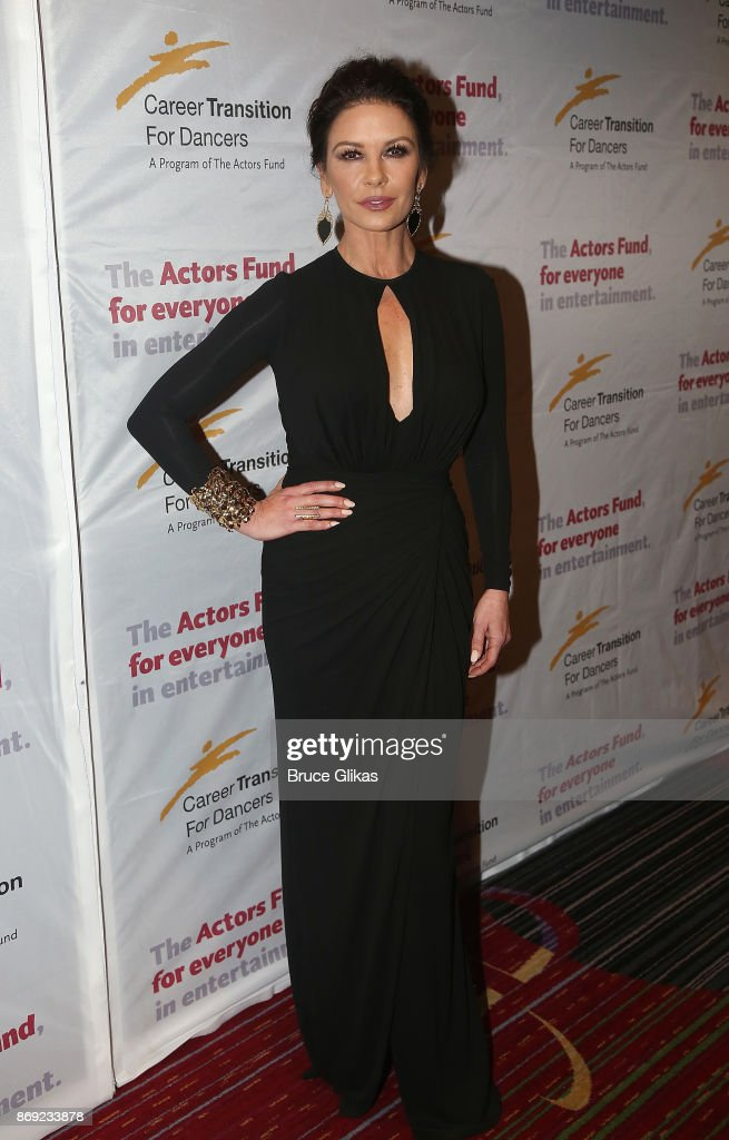 Catherine Zeta Jones poses at The Actors Fund of America's 'Career Transition for Dancers Jubilee Gala' at The Marriott Marquis Hotel on November 1, 2017 in New York City.