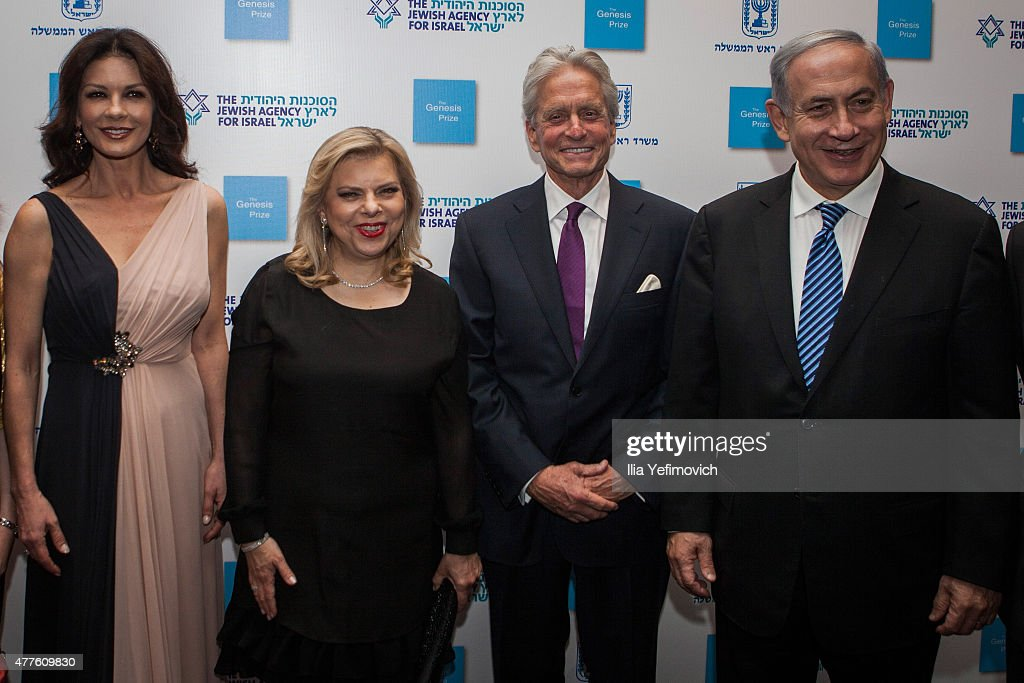 Catherine Zeta Jones Sarah Netanyahu Michael Douglas and Israeli Prime Minister Benjamin Netanyahu seen before the Genesis ceremony at The Jerusalem...