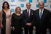 Catherine Zeta Jones Sarah Netanyahu Michael Douglas and Israeli Prime Minister Benjamin Netanyahu seen before the Genesis ceremony at The Jerusalem...